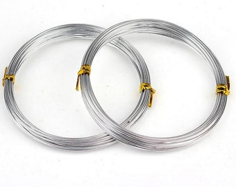 1.5mm Silver Aluminum Wire, 14 Gauge Electroplated, 1T-11