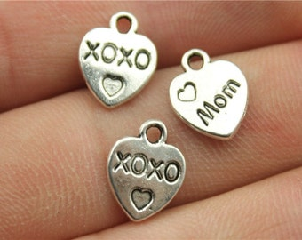 30 XOXO Mom Engraved Heart Charms, Antique Silver Tone (1A-248)
