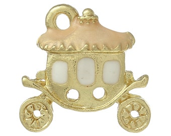2 FPeach Carriage Charms, Gold Plated Enamel (1U-13) NEW3