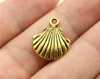 10 Shell Charms, Antique Gold Tone Charms (1C-74)