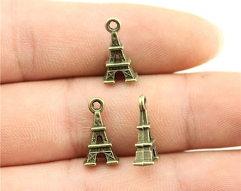 10 Eiffel Tower 3D Charms, Dark Antique Bronze Tone (1J-4)