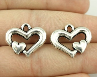 4 Heart in Heart Charms, Antique Silver Tone (1J-110)