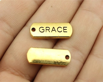 5 Grace Engraved Tag Charms, Antique Gold Tone Charms (1C-200)