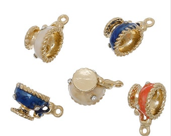 2 Tea Cup Charms, Gold Plated Enamel with Rhinestones (1M-180)