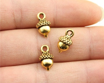 10 Acorn Charms, Antique Gold Tone Charms (1C-101)