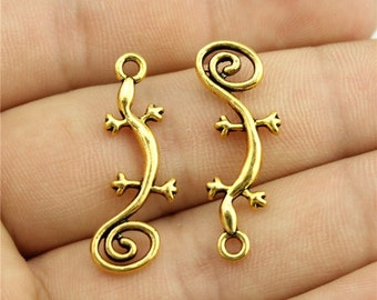 9 Gecko Charms, Antique Gold Tone Charms (1C-165)