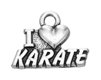 2 Love Karate Charms, Antique Silver Tone (1K-137)