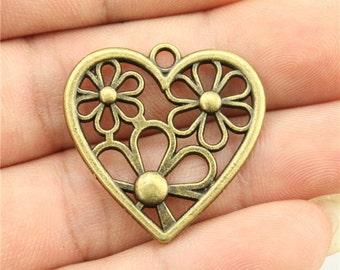 3 Flower Heart Charms, Antique Bronze Tone (1I-12)