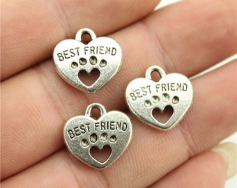 6 Best Friend Dog Paw Charms, 2 Sided, Antique Silver Tone (1R-24)