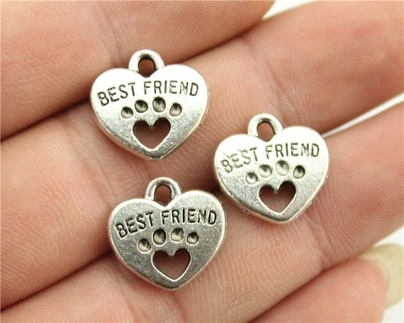 2468 pcs Best Friend Charms Antique Silver Tone with Heart Dog Paw 2 Sided