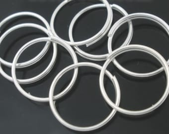 100 Double Loop Split  Jump Rings, 10mm High Quality Silver Plated  (1M-217)