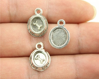 10 Dog Bowl Charms, Antique Silver Tone (1L-167)