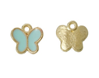 5 Light Blue Butterfly Charms, Gold Plated Enamel (1L-117)