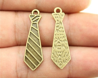 10 Tie Charms,  Antique Bronze Plated Charms (1N-12)