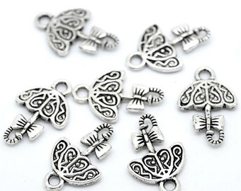 10 Umbrella Charms, 2 Sided, Antique Silver Tone (1K-199)