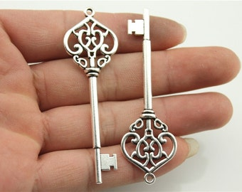 3 Fancy Skeleton Key Charms, Antique Silver Tone Charms (1A-233)