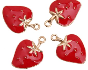 4 Strawberry Charms, Gold Plated Enamel (1K-250)