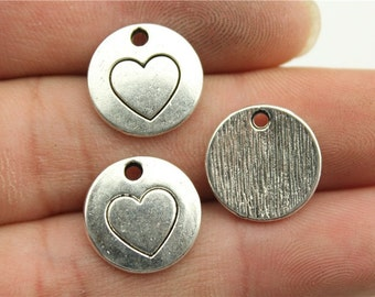 6 Heart Stamped Charms, Antique Silver Tone (1B-201)
