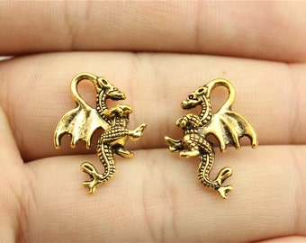 10 Dragon Charms, Antique Gold Tone Charms (1C-180)