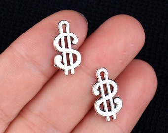 5 Money Symbol Charms, Antique Silver Tone (1M-118)