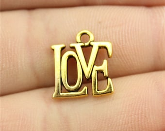 10 Love Charms, Antique Gold Tone Charms (1C-106)