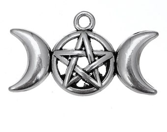 2 Pentagram and Moon Charms, Antique Silver Tone (1K-147)