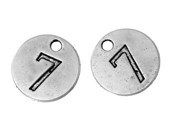 10 Number 7 Charms, Antique Silver Tone (1A-1)