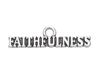 2 Faithful Charms, Antique Silver Tone (1K-122)