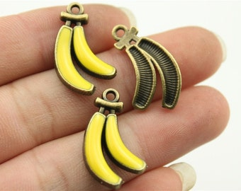 4 Enamel Banana Charms, Antique Bronze Tone (1D-15)