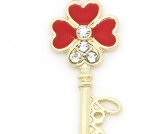 2 Four Leaf Clover Charms, Gold Plated with Rhinestones (1C-47)