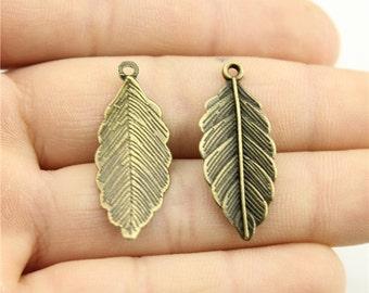 10 Leaf Charms, Antique Bronze Tone (1G-51)