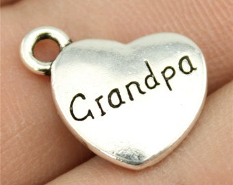4 Grandpa Engraved Heart Charms Antique Silver Plated Charms (1B-117)