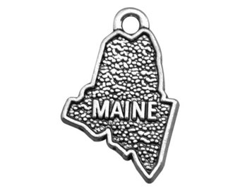 4 Maine State Charms, Antique Silver Tone (1I-252)