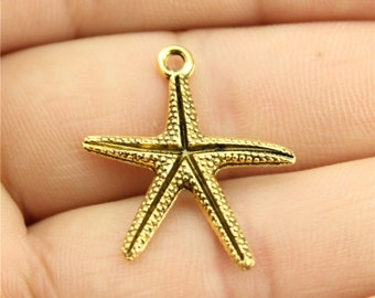 6 Starfish Charms, Antique Gold Tone Charms (1D-195)