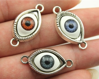 2 Eye Connector Charms, Antique Silver Tone (1E-195)