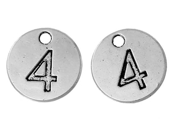 10 Number 4 Charms, Antique Silver Tone (1A-7)