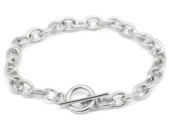 5 Toggle Clasp Curb Chain Bracelet, Antique Silver Tone (1V-20)