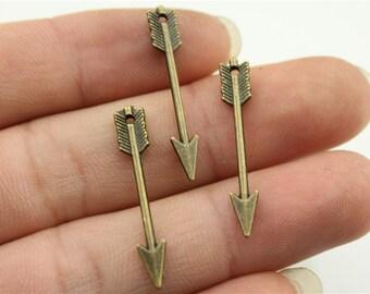 20 Arrow Charms, Antique Bronze Tone (1E-20)
