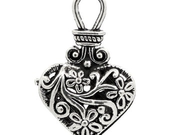 2 Hollow Heart Charms, 2 Sided, Antique Silver Tone (1L-101)