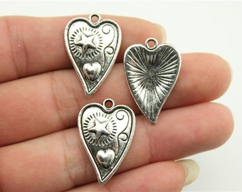 6 Heart with Star and Heart Charms, Antique Silver Tone Charms (1A-177)