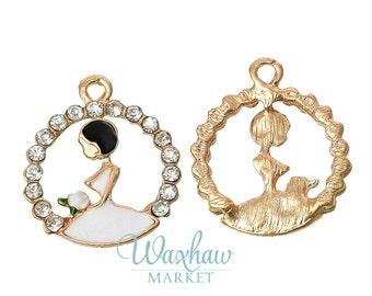 2 Bride Wedding Girl Rhinestone Charms, Gold Plated Dangle Pendant Charm (1Q-36)
