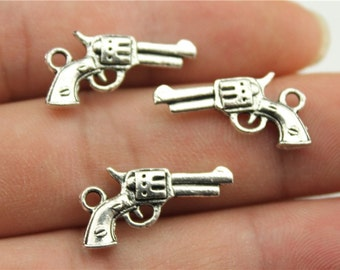 15 Pistol Charms Antique Silver Tone Charms (1A-244)