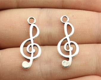 10 Music Note Charms, Antique Silver Tone Charms (1K-64)