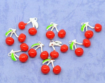2 Cherry Charms, Enamel Silver Plated (1C-41)