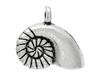 6 Seashell Charms, Antique Silver Tone (1U-28)