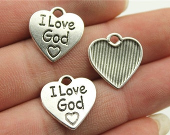 9 I Love God Engraved Charms, Antique Silver Tone (1A-70)