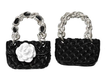 2 Handbag Purse with Camellia Flower Charms, Black and White Enamel Plated (1Q-51)