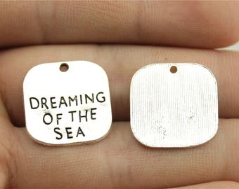 5 Dreaming Of The Sea Charms, Antique Silver Tone Charms (1D-114)