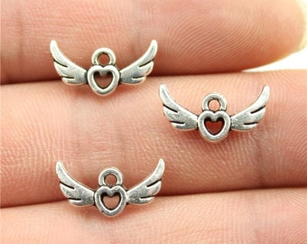 10 Heart with Wings Charms, Antique Silver Tone (1A-101)