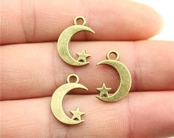 9 Moon and Star Charms, Antique Bronze Tone (1E-52)